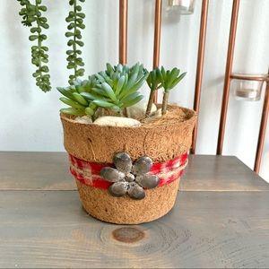 Rustic Farmhouse Faux Succulent Plant Pot Decor
